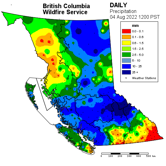 Map showing levels of precipitation across B.C