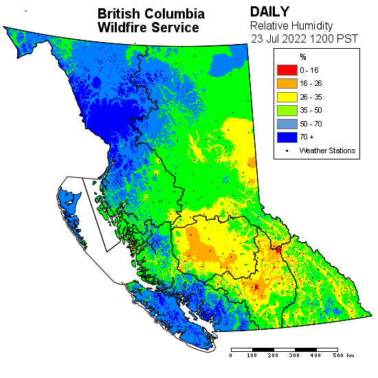 Map showing relative humidity levels across B.C.