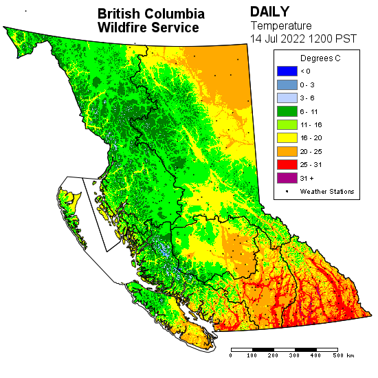 Map showing temperature across B.C.