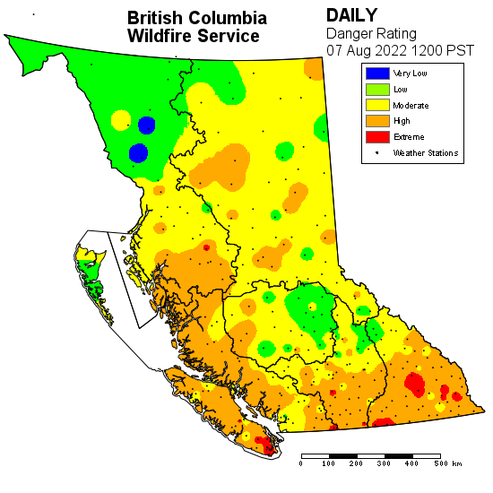 BC Wildfire Service daily danger rating
